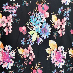 Fashion oetko black polyester spandex floral print jersey knit fabric