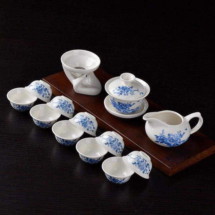 Factory Wholesale Direct Sales Kung Fu Tea Set Blue and White Porcelain Ceramic Business Gifts Custom Logo