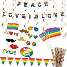 peace love party supplies love is Love Gay Pride photo props Small Mini Hand Held LGBT Flags Rainbow Party Bunting Banner party