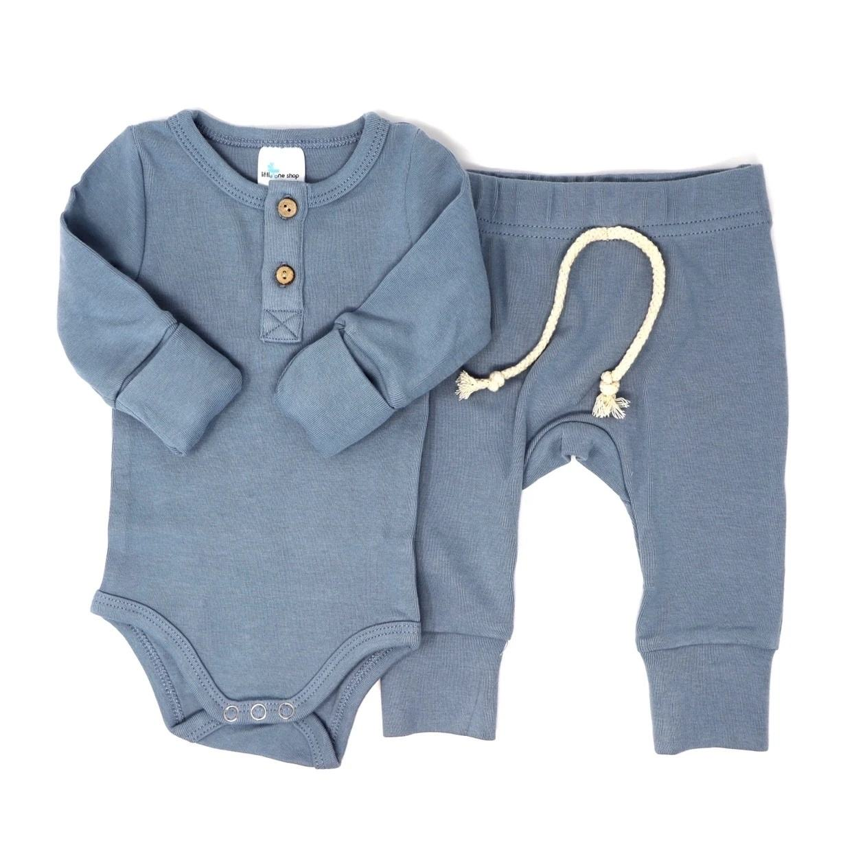 High Quality Plain Dyed 95% Bamboo 5% Spandex Long Sleeve Baby Pajamas Set