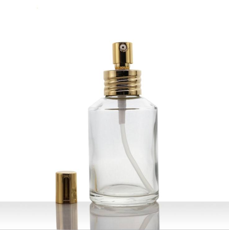 15ml 30ml 50ml 100ml 200ml transparent lotion spray glass bottle with plating golden pump