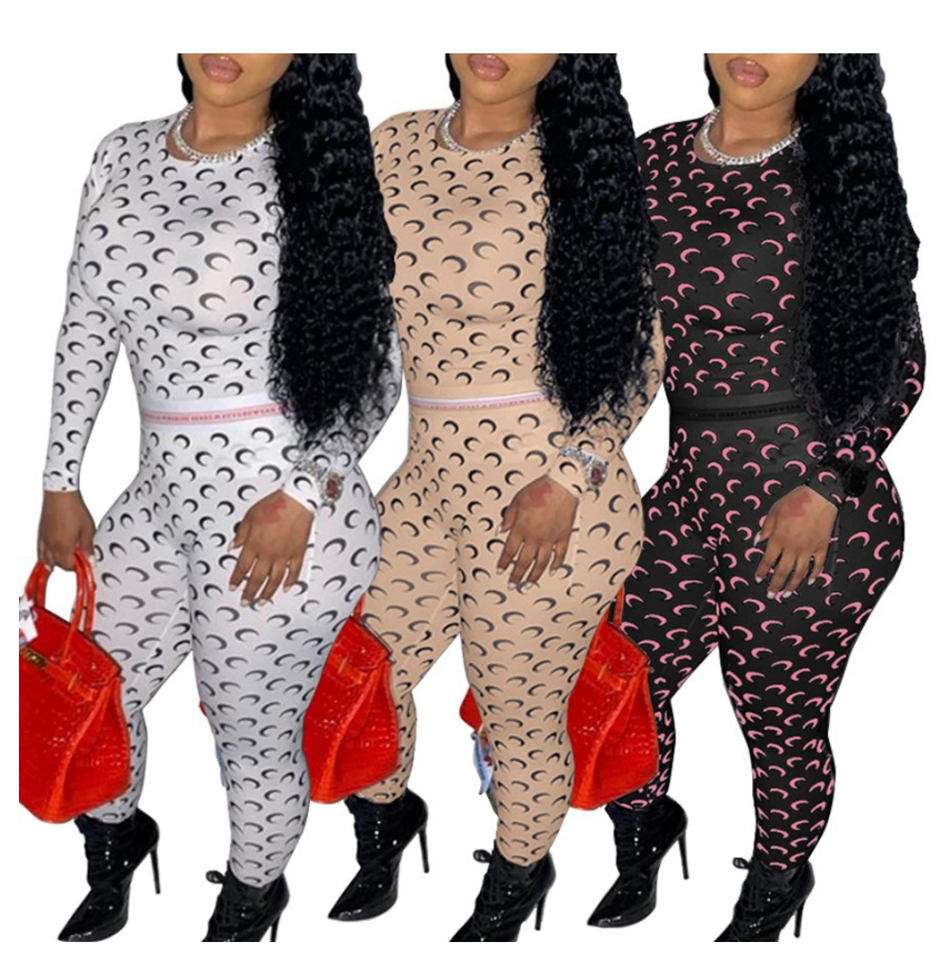 2020 Women's autumn long-sleeved casual print moon women's suits two piece set women clothing