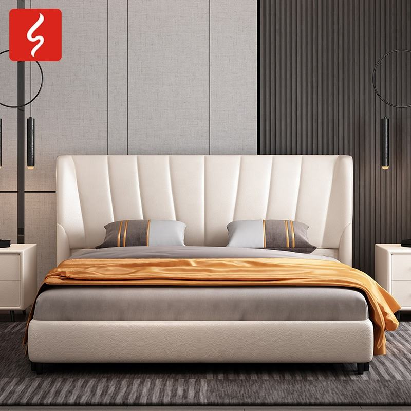 Simple White Color High Wingback Low Wood Beds