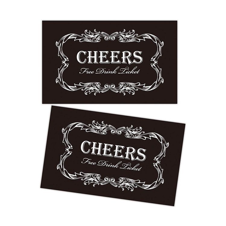 High quality 300gsm paper card black drink voucher tickets for party