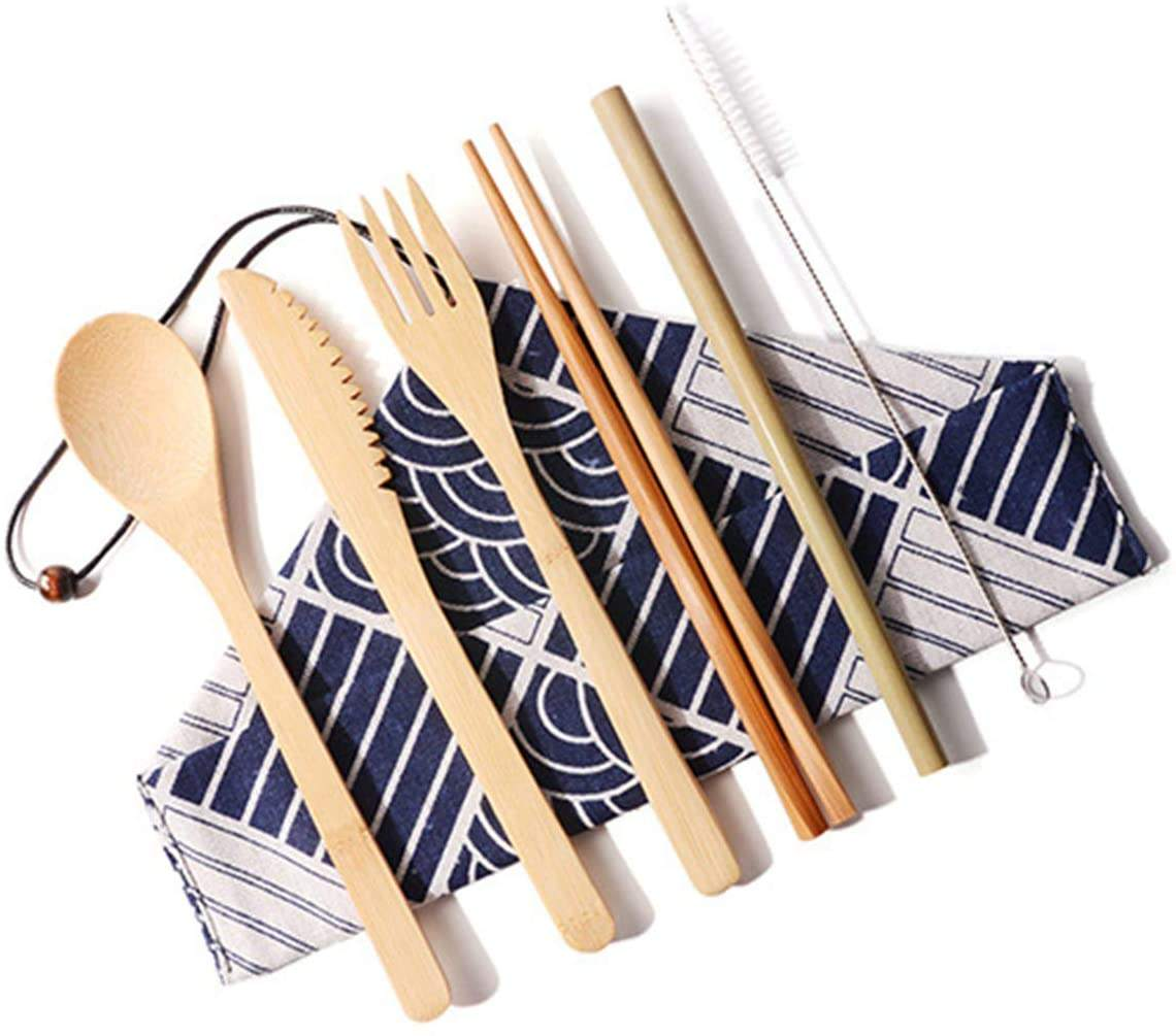 Reusable Kitchen Wooden Bamboo Travel Utensils Forks Knives Chopsticks Spoons Straws Brushes Flatware Set with Cloth Bag