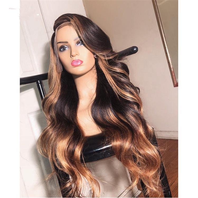 Long Wavy Cuticle Aligned Virgin Hair Highlight Color Mink Brazilian Human Hair Swiss Lace Front Wigs for Black Women