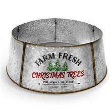 "Farmhouse Christmas tree collar - galvanized steel authentic 30"" tree ring / tree skirt decorates your home for the holidays"
