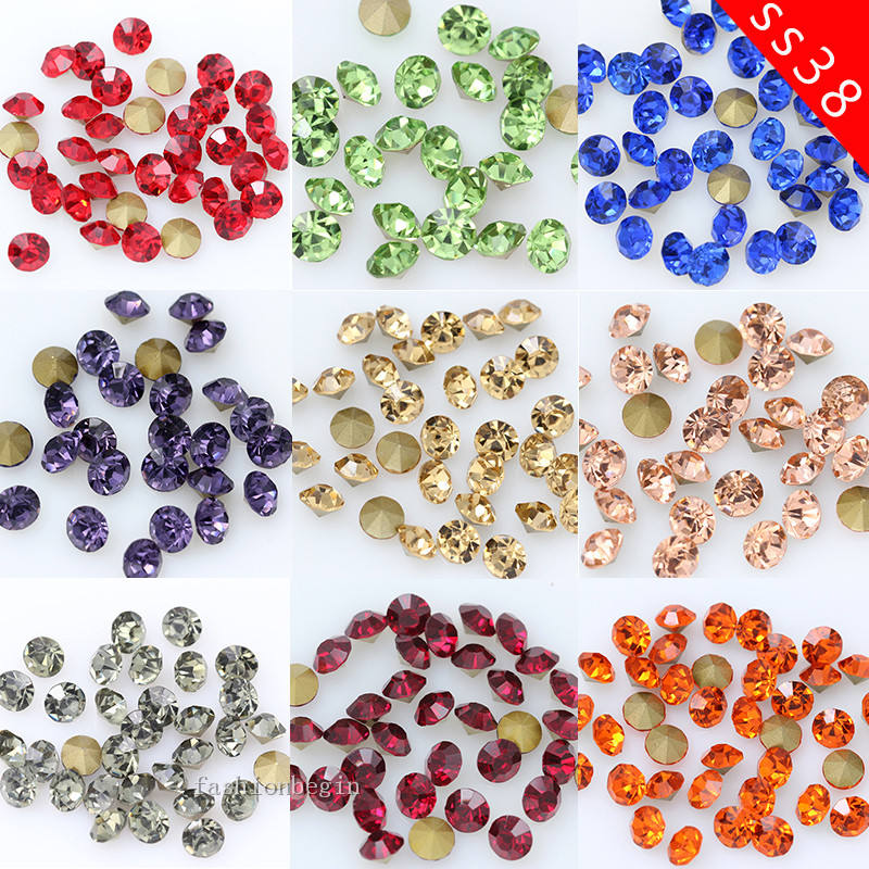 1440/144pcs 2-10mm Colorful Round Point Back Glass Strass Stone Crystal Diamante Rhinestones Jewelry Making Bead