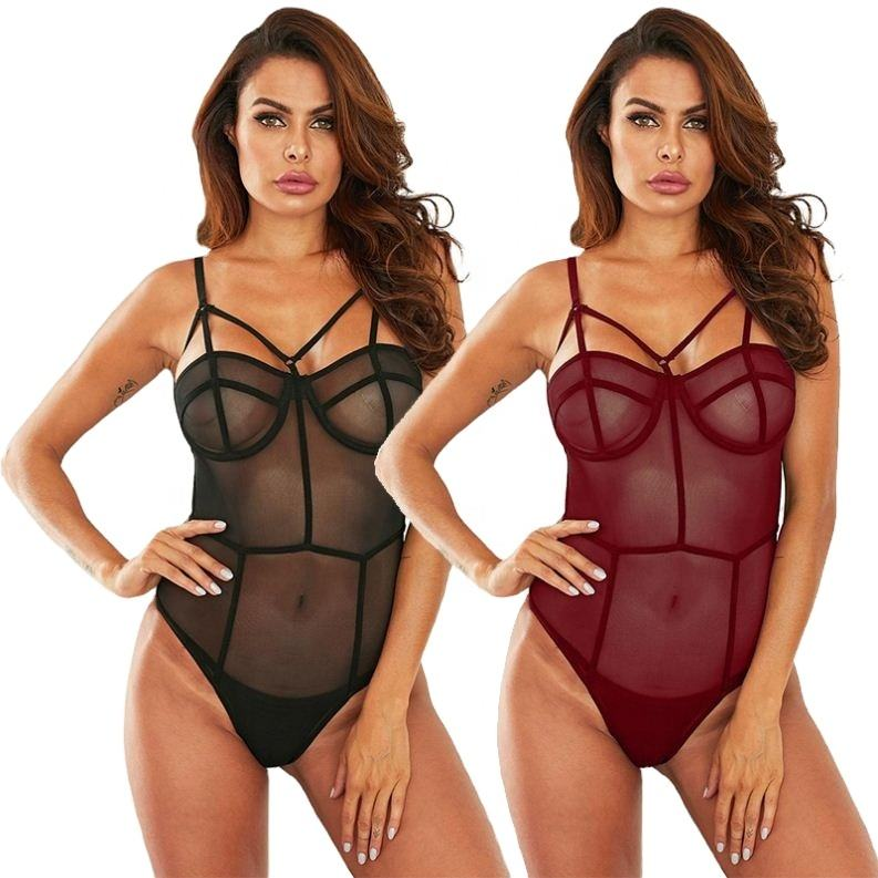 2021New Trendy Fashion Sexy Underwear Black Seductive Lover Mesh Teddy Bodysuit for Women