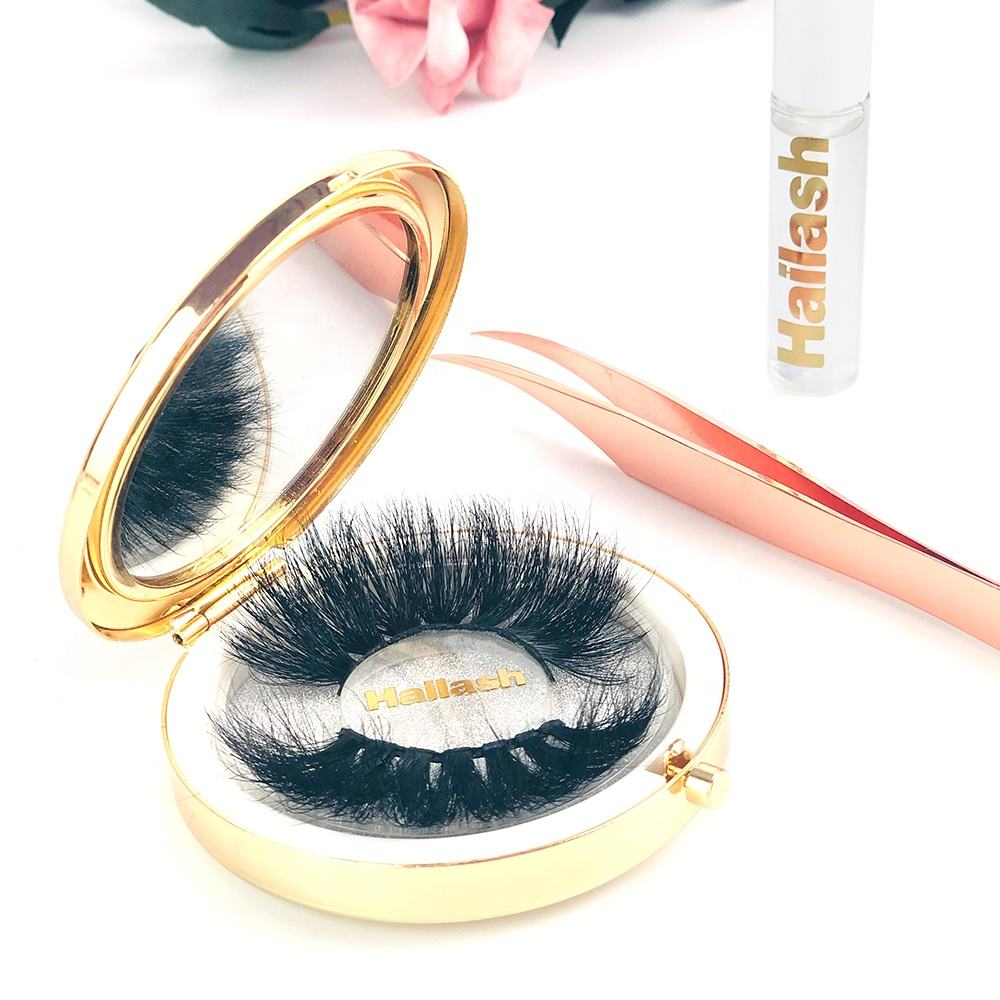 Hailash 2019 hot selling real 100% 3d individual mink lashes custom packing private label 25mm mink eyelashes