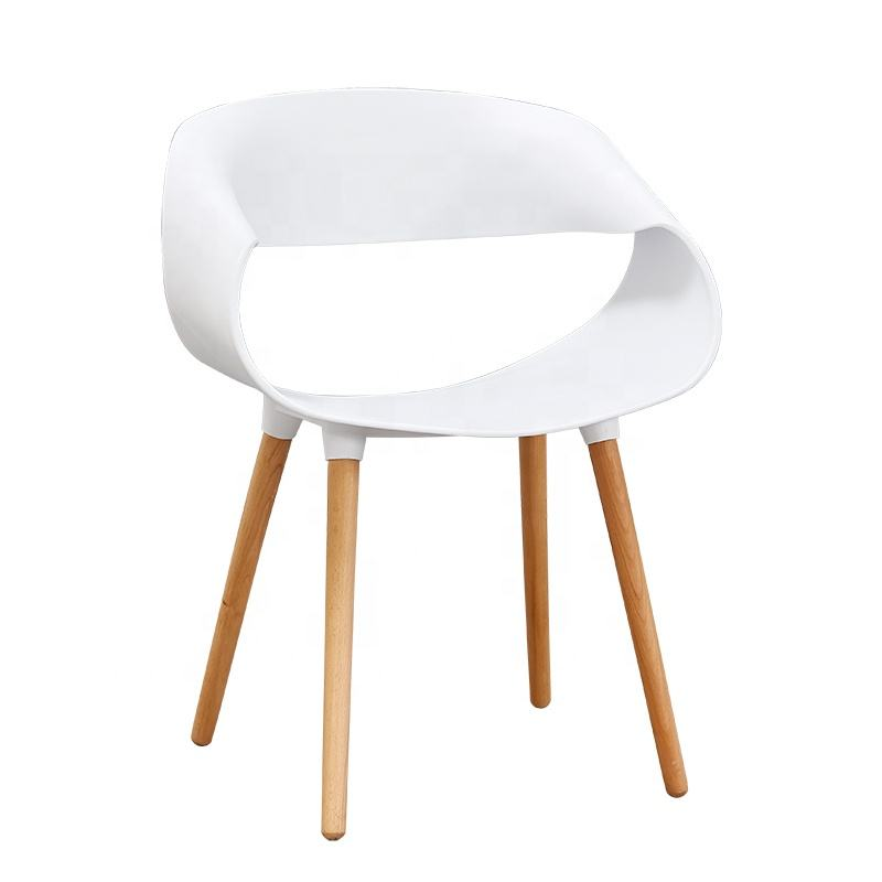Modern infinite leisure creative negotiation solid wood leg plastic dining chair