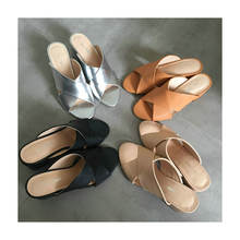 High heel lady wedge sandals women hard sole slippers