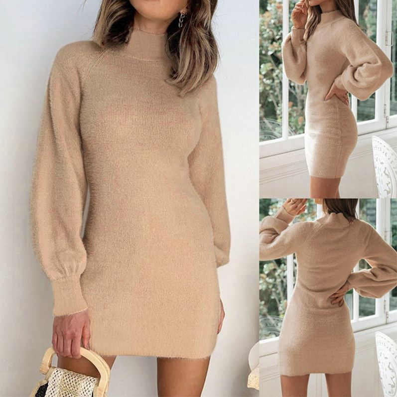 ANL3020 Casual solid color mid-high collar waist long sleeve dress ZC3768