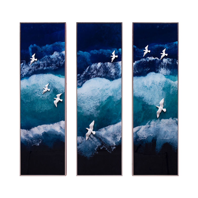 Relife original modern glass painting luxury sea painting handmade pour painting 3 pieces luxury home decor