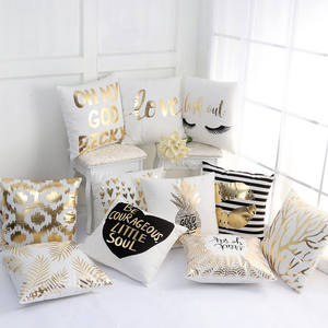 Custom Plush Fabric Gold Foil Pillow Covers for Sofa Cushion Cover Wholesale