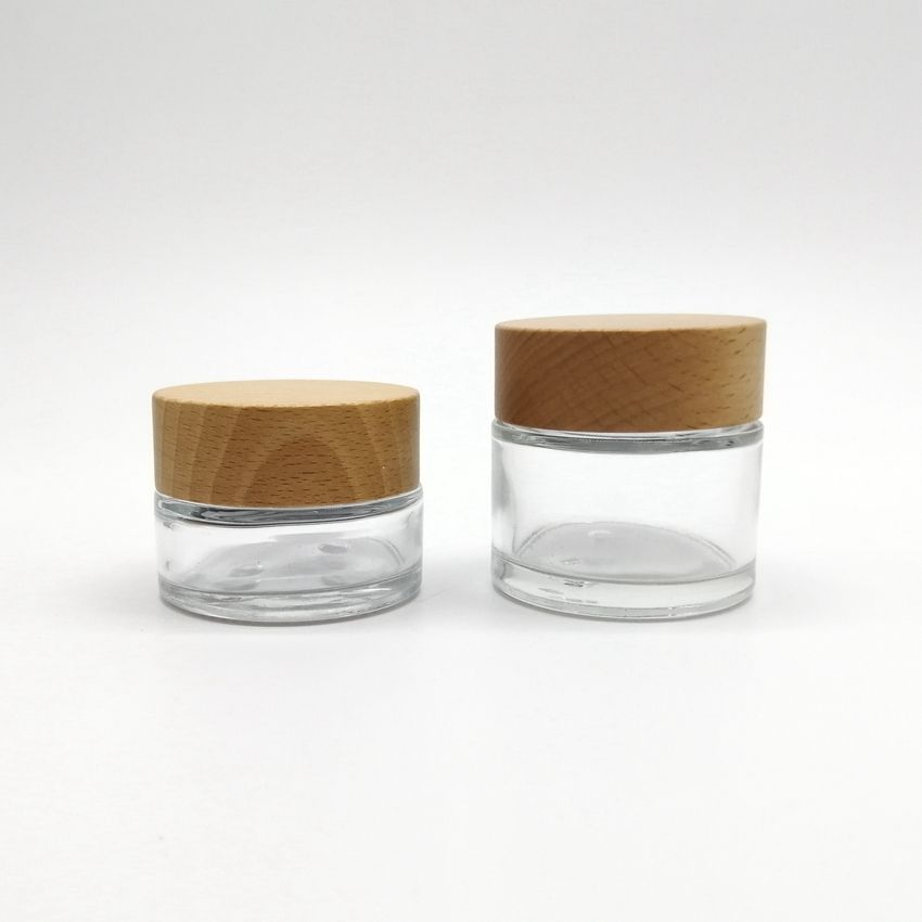 Airtight Wooden cosmetic packaging empty glass jar with bamboo top, clear frosted glass jar bamboo cosmetic cream containers