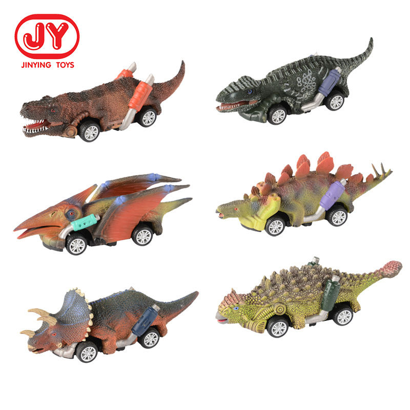 5.3 inch Dinosaur Toy Car Mini Animals Figures Dino Car Toddler Toys 6 Pack Pull Back Cars