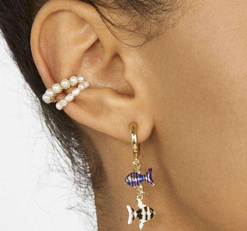 Q Gold Stainless Steel Polished Rose IP Clip Non Pierced Ear Cuffs