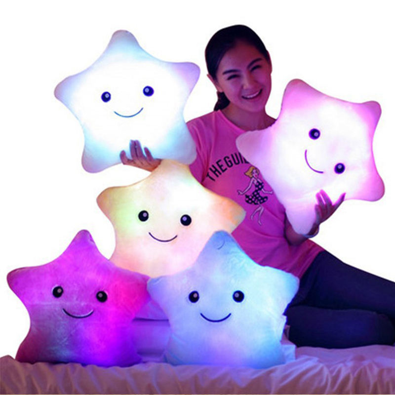 35cm LED Flash Lighting Star Plush Toys Light Soft Baby Toy Glowing Cushion Up Led Stars Pillow
