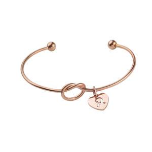 2019 New Design Jewelry Stainless Steel Knot Heart Shape Pendant Gold Silver Women Bangles Bracelet