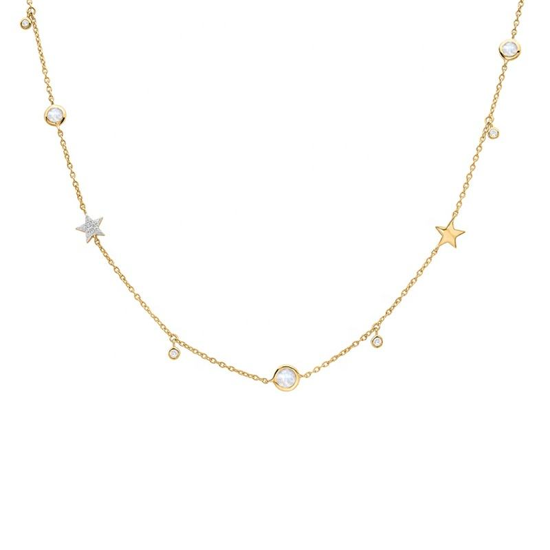 A293A 18K Gold layered Dainty lady little star and round zircon necklace by Moyu