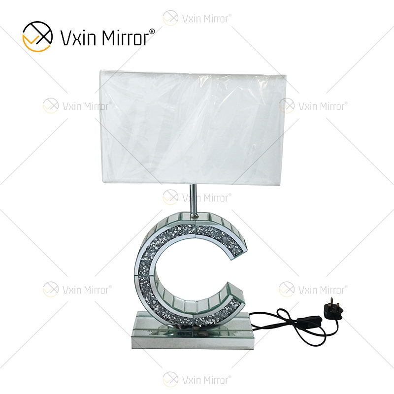 Modern Style WXTL-02 Silver Crushed Diamond Mirrored C shape Table Lamp For Bedroom