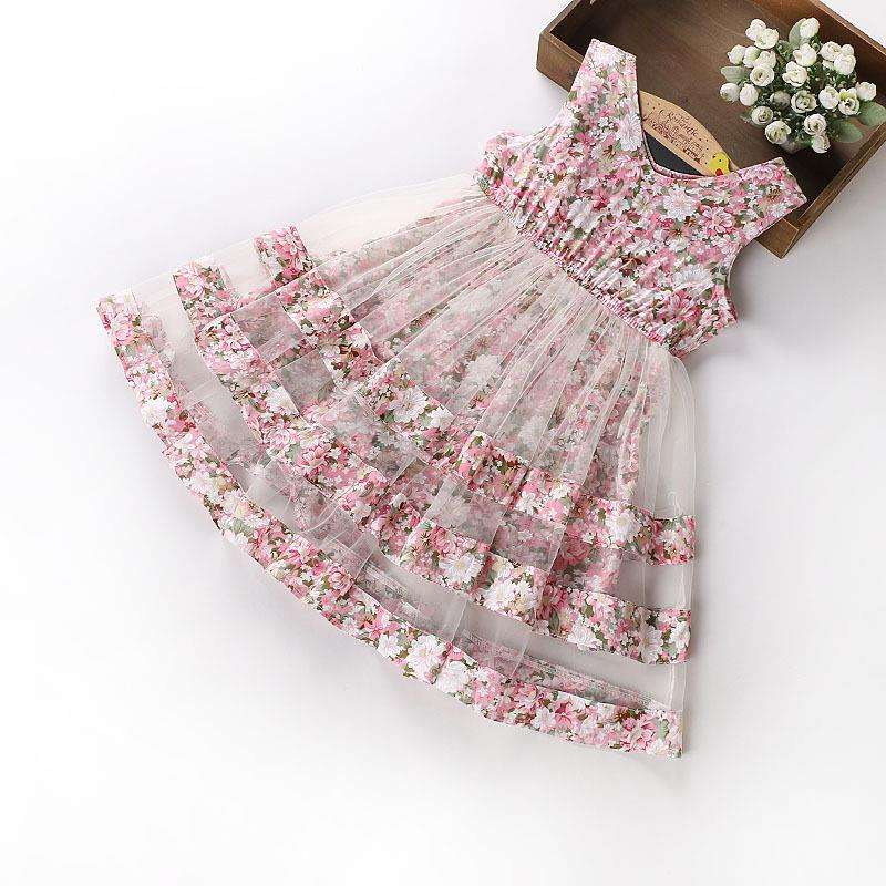new summer full floral print princess party dress middler girls chiffon flower dress for 120-150cm