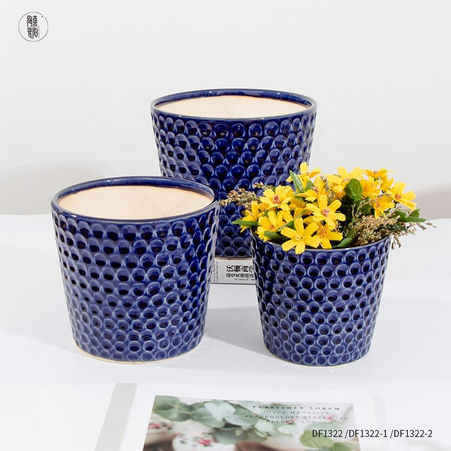 "Garden flower pots 7.8"" 6.5"" 5.5"" set of 3 crackled glaze indoor outdoor nordic style plant containers with drainage hole"