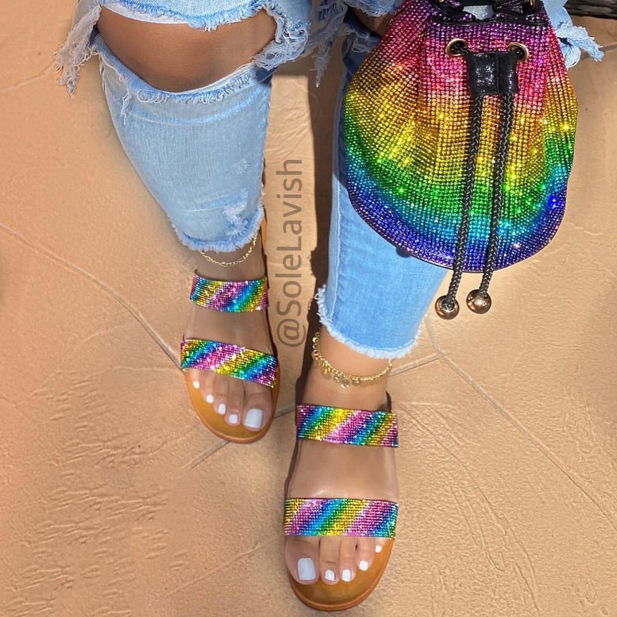 Newest best sale summer ladies pu lining shoes sandal women
