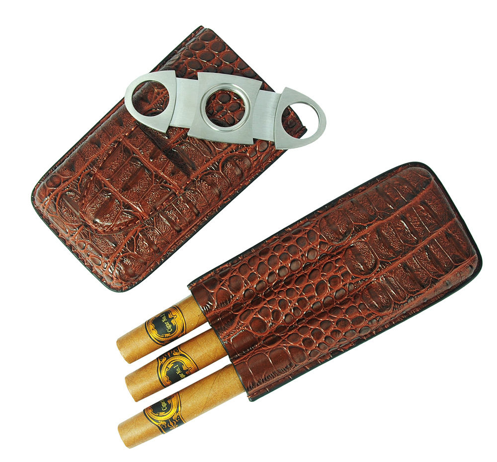 Hot Sales Portable 3CT PU Leather Cigar Case for Storing Cigars Carry Everywhere