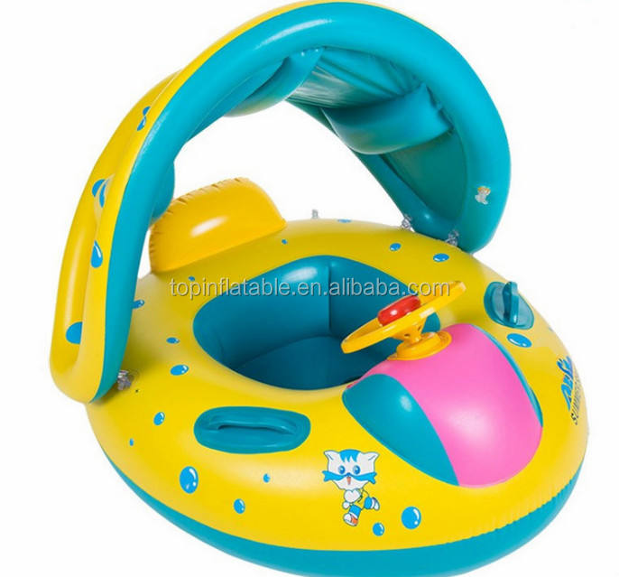 Inflatable Kids Swimming ring Floats Baby Seat Boat Pool Float With Shade Canopy