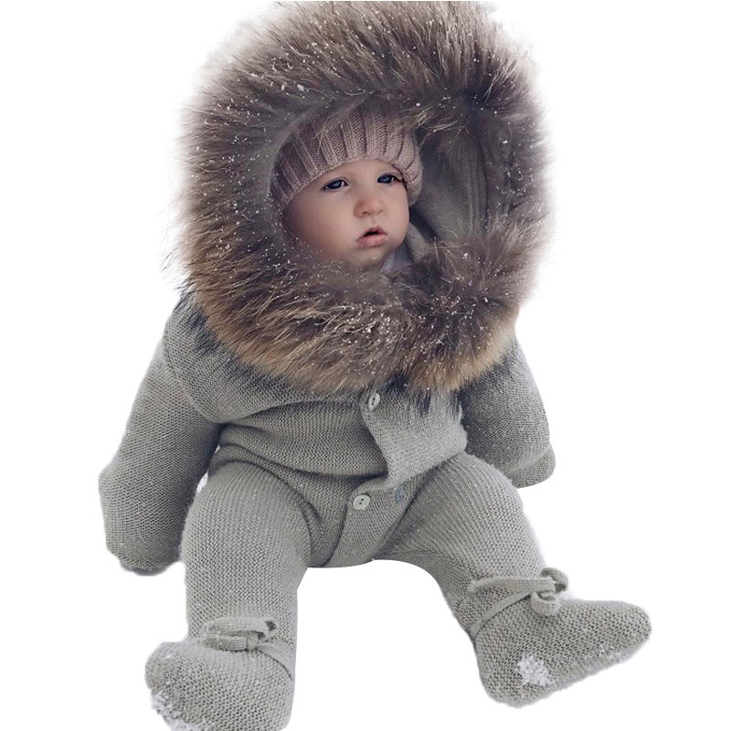 INS multicolor winter warm baby jumpsuit fur collar Hoodie fashion cute baby bib knit soft romper