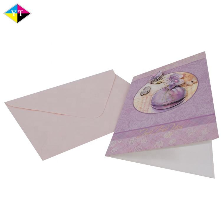 custom different types nice handmade decoration printing wedding invitation greeting card and envelope set