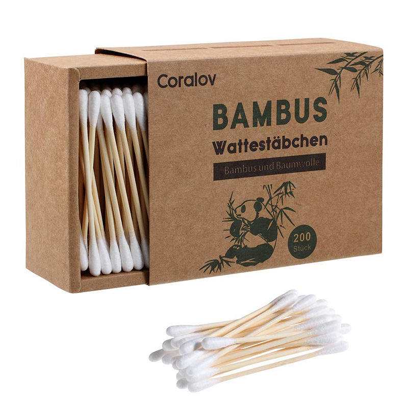 100% Degradable Household Custom Private Label Bamboo Cotton Swab Double-End Clean Cotton Swab