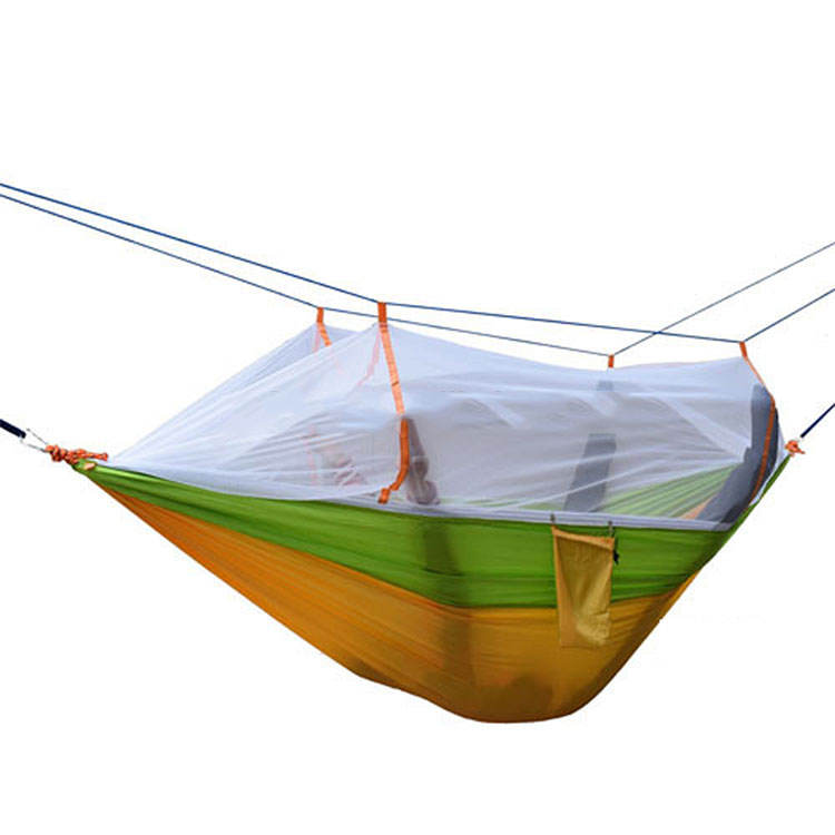 Nylon Tragbare Parachute Hängesessel Doppel <span class=keywords><strong>Camping</strong></span> <span class=keywords><strong>Hängematte</strong></span> Mit Moskitonetz