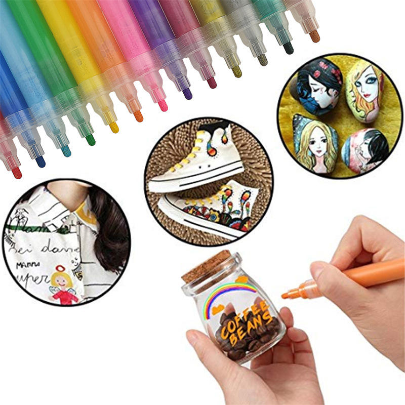 12 coclors Permanent DIY Craft Water Based Paint marker pen Bright Color Permanent Acrylic Paint Marker Pen