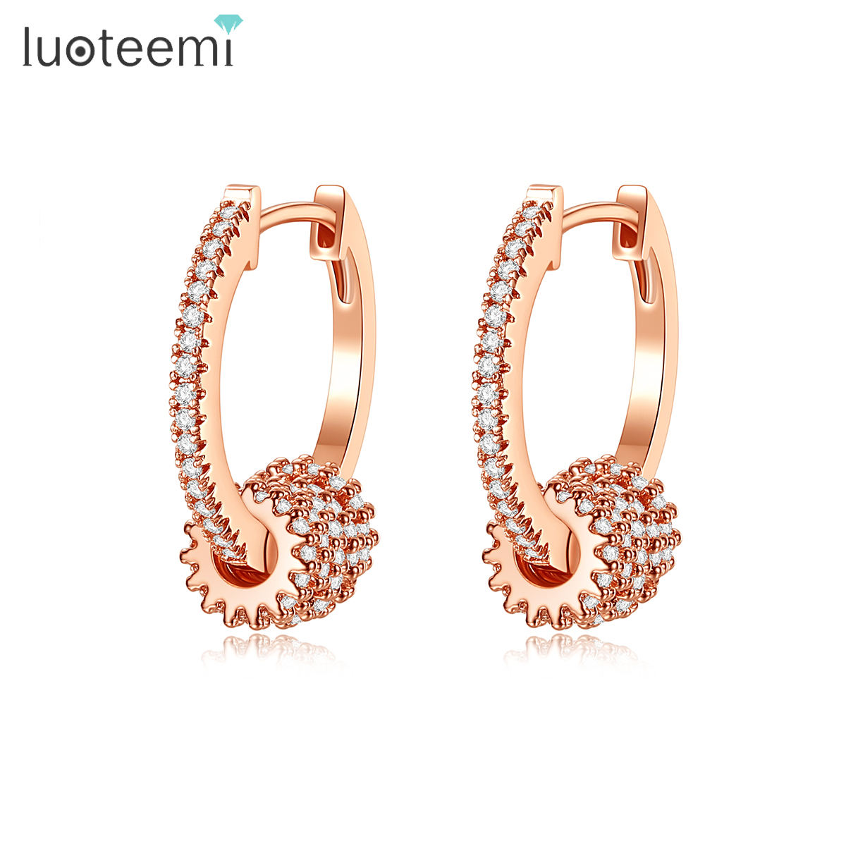 LUOTEEMI Cubic Zircon Hoop Earring Rose Gold Pated Initial Cubic Bling Hoop Earrings