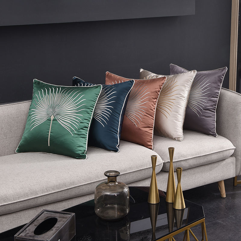 Monad Leaves Embroidery Silk Satin Cushion Cover Hidden Zipper Luxury Velvet Pillowcases Set for Home Sofa Decorative
