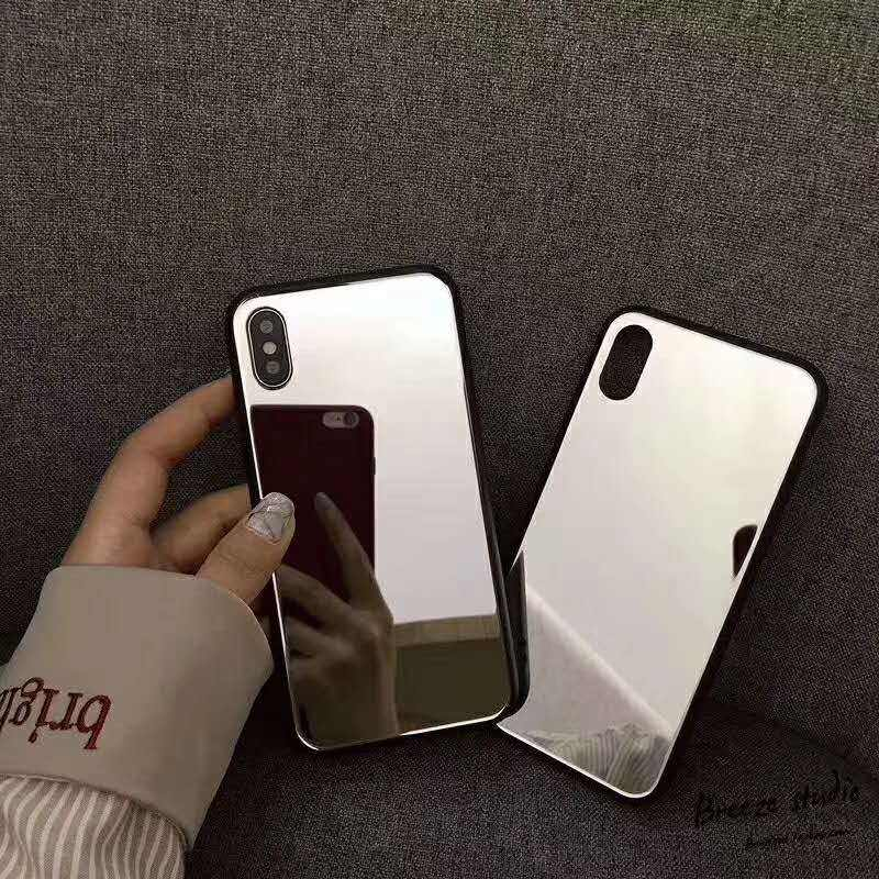 Twee In Een Telefoon Case Makeup Selfie Spiegel Voor Iphone X Mobiele Shell Ip8/7Plus Spiegel Glas 6S Private Label Mobiele Telefoon Case