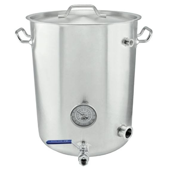 Polished stainless steel stock pot with gallon markings