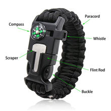 Outdoor sport popular couple cool nylon large firestarter different multitool custom two color paracord charms bracelets knots