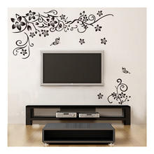Black flower leaf TV Background decoration PVC wall sticker