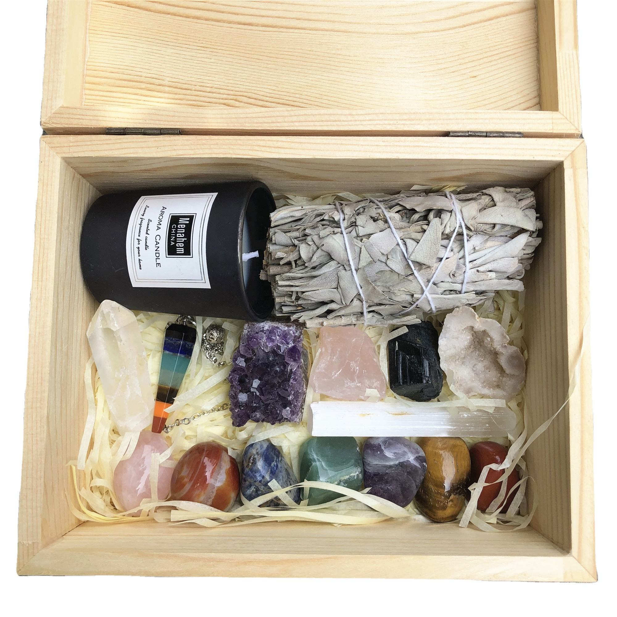 Wholesale natural crystal healing stone wooden box set charm 7 Chakra Stones Kit for meditation