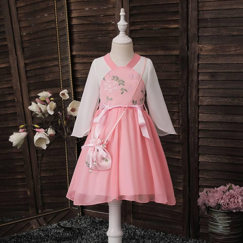 Bonita <span class=keywords><strong>chica</strong></span> bordada. Un vestido de dos piezas. Fiesta de la princesa EsMX Vestido de dama de honor de boda elegante