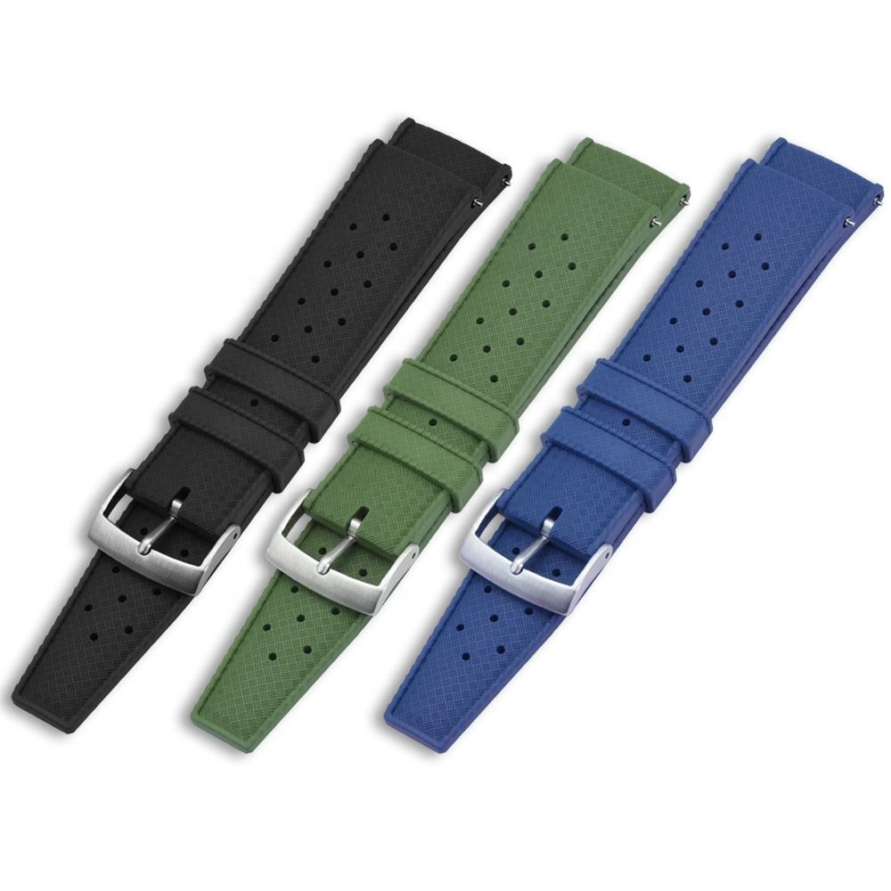 Watch Dust Proof Retro Tropical Style FKM Fluorine Rubber Silicone Watch Strap Band with Quick Release