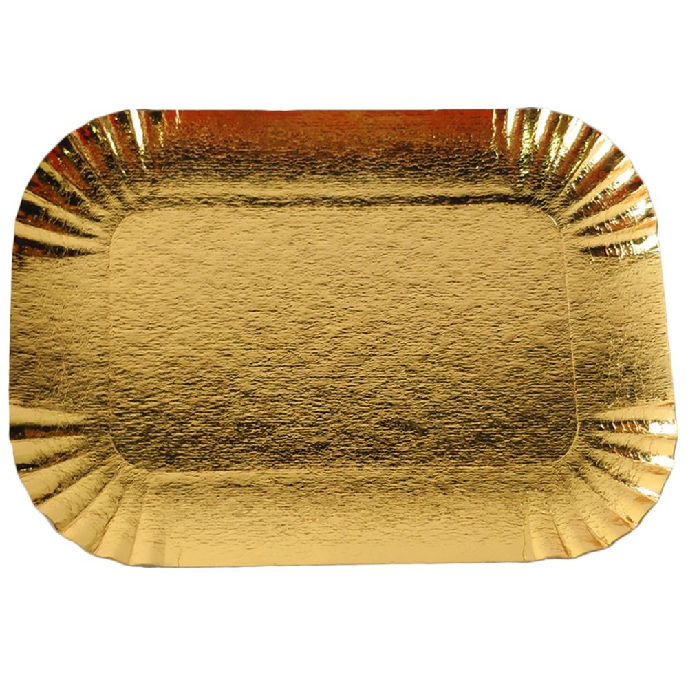 Rectangular Gold Paper Platters, laminated Cardboard Serving Trays Great for Birthday, Party, Wedding