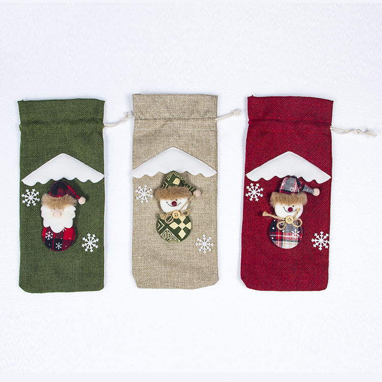 Wine bottle cover decorations jute christmas muslin drawstring bag
