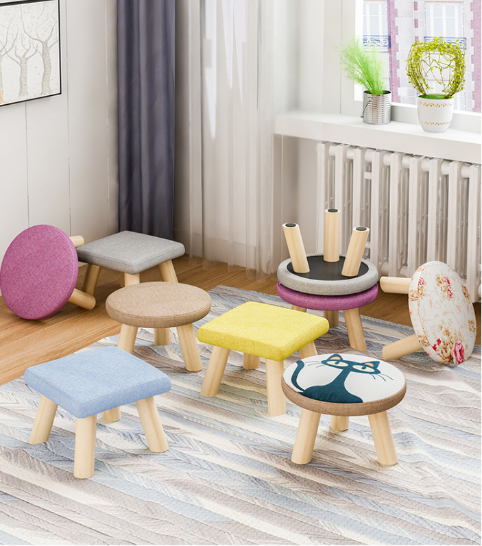 Children mushroom shaped solid wood shoes stool ottoman wooden stool