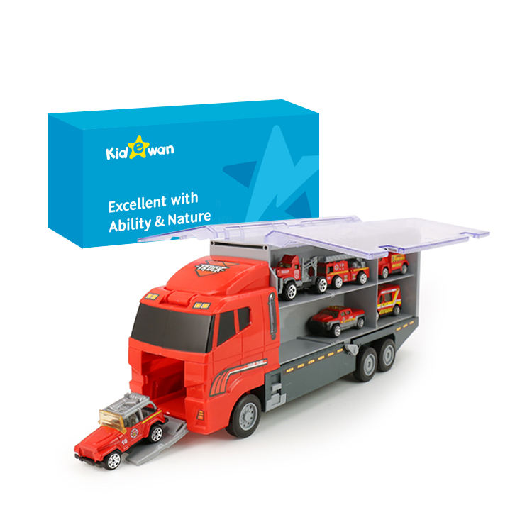 Kidewan Fire Engine Truck Toy 6 Die Cast Alloy Vehicle Car Toy Set Play Vehicle In Carrier For Kids Boys