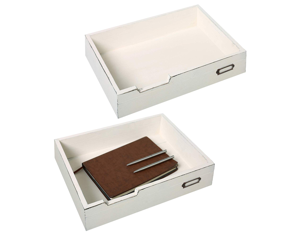 Clean Neat White Documents Files With Simple Sense Rustic Wood Tray